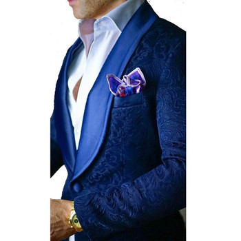 Custom Men's Suits New Style Royal Blue Groomsmen Shawl Lapel Groom Tuxedos Wedding Best Man Blazer 2 Pieces(Jacket+Pants)