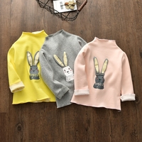 2017 autumn and winter children's clothing bottoming shirt children's children's rabbit plus cashmere cotton girl T shirt shirt