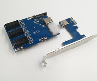 NEW Blue PCIe 1 To 3 PCI Express 1X Slots Riser Card Mini ITX To External