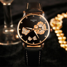 YAZOLE fashion casual leather ladies watch Themed on butterflies and flowers round dial luxury brand waterproof quartz watches