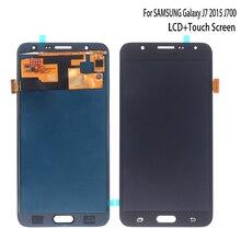 AMOLED لسامسونج غالاكسي J7 2015 J700 J700F J700H LCD عرض تعمل باللمس محول الأرقام لاستبدال غالاكسي J7 2015 أجزاء الهاتف