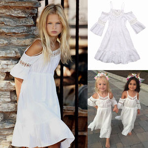 2 To 6 Years Cute Littler Girls White Summer Dress Kids Vintage Lace Princess Dress Wedding Party Pageant Dresses