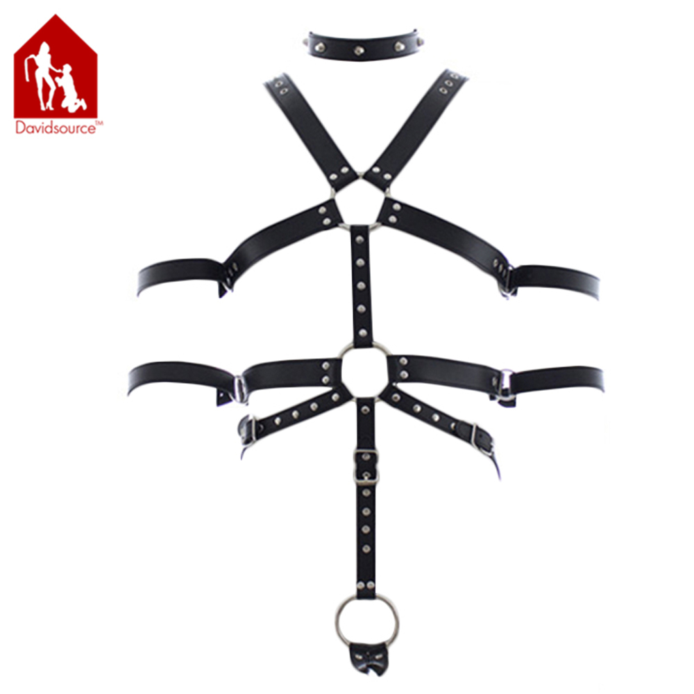 Davidsource Leather Body Harness With Collar Penis Ring & Arm Restraints Cuffs Male Restraints Bondage Fetish Sexy