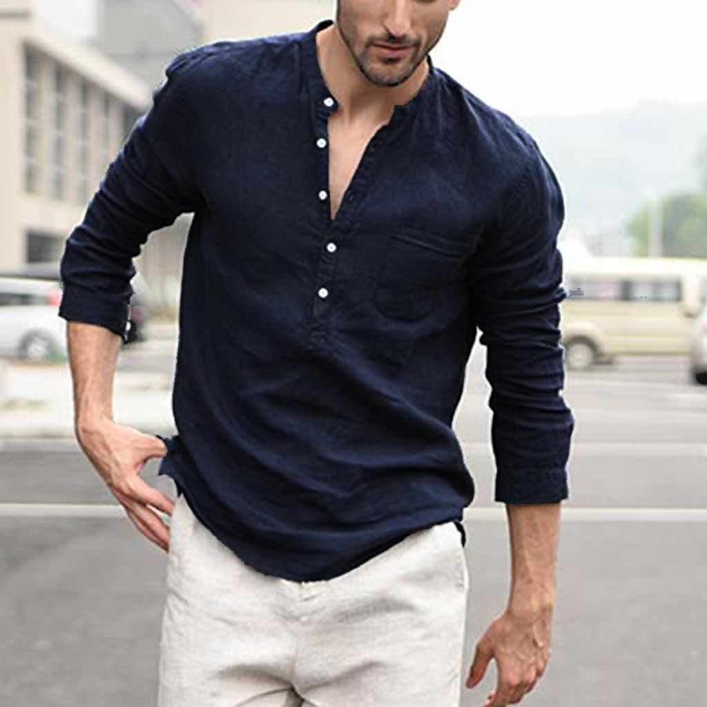 남성 블라우스 셔츠 남성 빈티지 퓨어 컬러 버튼 리넨 솔리드 긴 소매 레트로 셔츠 탑스 블라우스