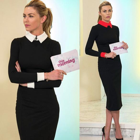 Vestido 2015 musim panas gaya gaun kerja wanita, Ol padat gaun formal formal, Plus ukuran XXL vestido de festa