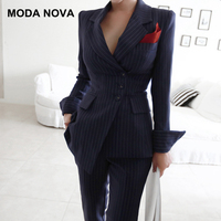 MODA NOVA 2018 Autumn Winter Striped Blazer Suit Women Business 2 Piece Suits Female Korean Slim Jacket With Pants Suits Set
