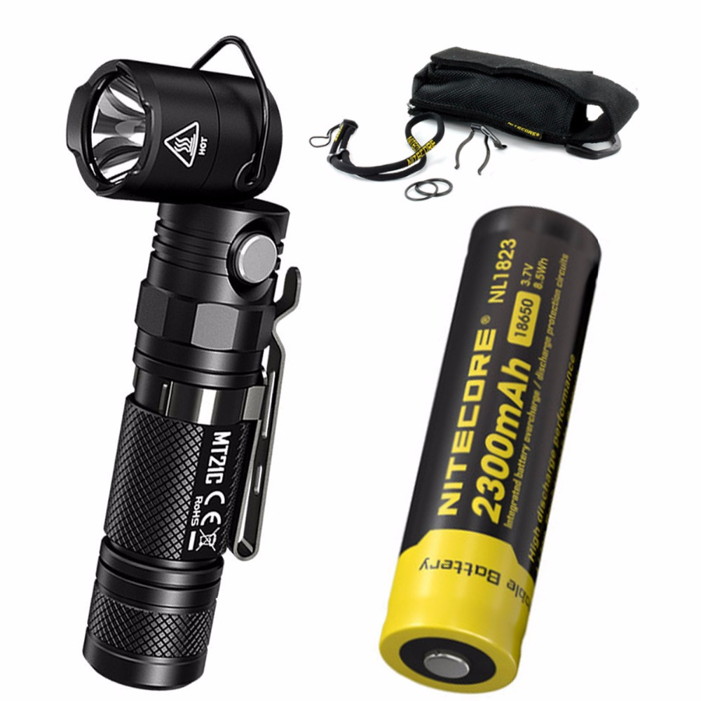 NITECORE MT21C 1000LMs Multi-functional 90Degree Adjustable Flashlight Portable Diecast Torch with 2300mAh battery nitecore nbm40 multi purpose portable battery magazine at your disposal travel kits