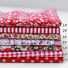 7pcs Red 25X25cm 100% Fabric Cotton Quilting Fabric for DIY Sewing Quilt Patchwork Kids Bedding Doll Bags Cloth Fabric Textile 100pcs 10x10cm square floral cotton fabric diy sewing doll quilting patchwork textile cloth bags crafts
