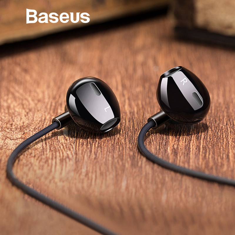 Baseus H06 estéreo Bass Auriculares auriculares de 3,5mm jack cable de control HiFi Auriculares auriculares para iPhone Xiaomi teléfono móvil