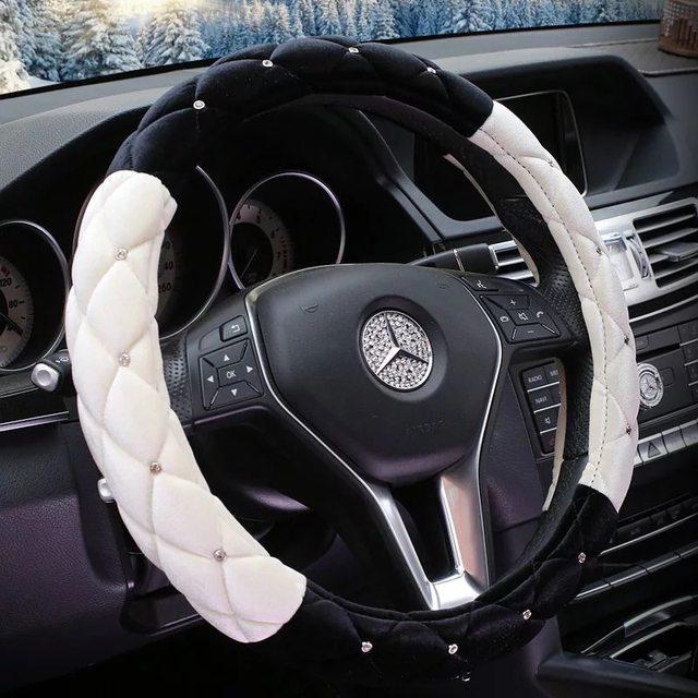 Crystal Plush Car Steering Wheel Covers Women Studded