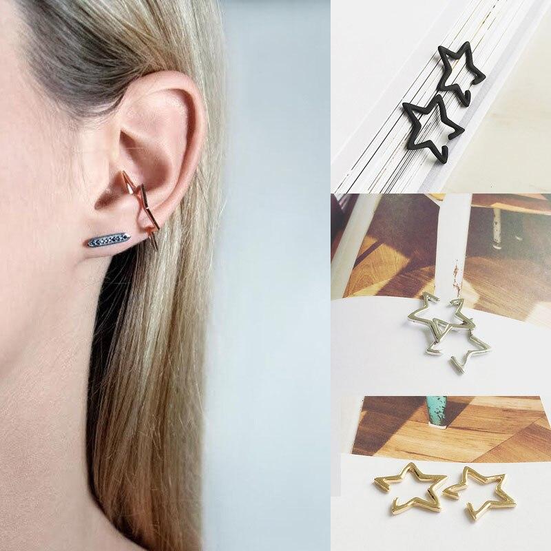 Hot 2 Pcs Punk Style 3 Colors Star Ear Clip Women Girl Fashion Simple Earrings Jewelry