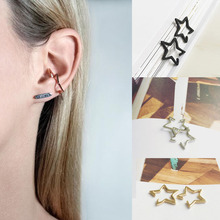 Hot 2 Pcs Punk Style 3 Colors Star Ear Clip Women Girl Fashion Simple Earrings Jewelry Gift