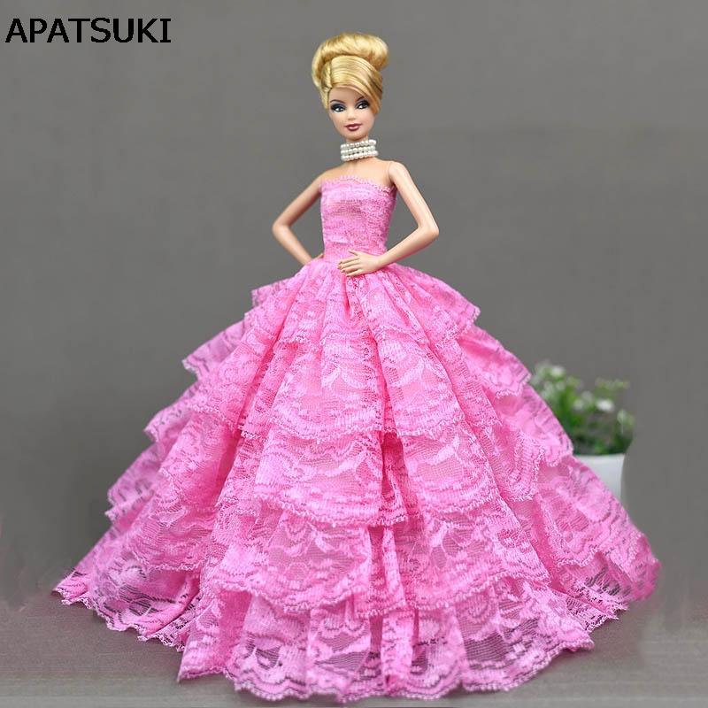 Pink Lace Wedding Dress for Barbie Doll Princess Evening Party Wears Dress Clothes Outfits For 1/6 Doll Accessories leadingstar 2017 new wedding bridal dress princess gown evening party dress doll clothes fit for barbie doll for kids gift zk30