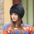 De alta calidad de lana Tejido de Punto beanie sombreros De Moda de invierno para mujer de Piel de Conejo Real Fur Casual chicas lindas cap compras libres