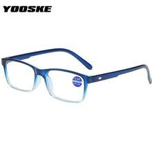 Gafas de lectura YOOSKE con luz Anti-azul para hombre y mujer, gafas de hipermetropía Vintage, gafas de presbicia + 1,0 1,5 2,0 2,5 3,0