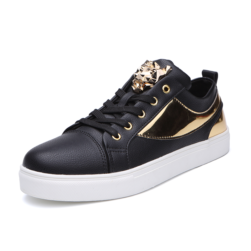New Luxury Skateboarding Shoes for Men Cool Black Traning Sports Shoes Men Sneakers Trend Flats Trainers Shiny Gold White Shoes