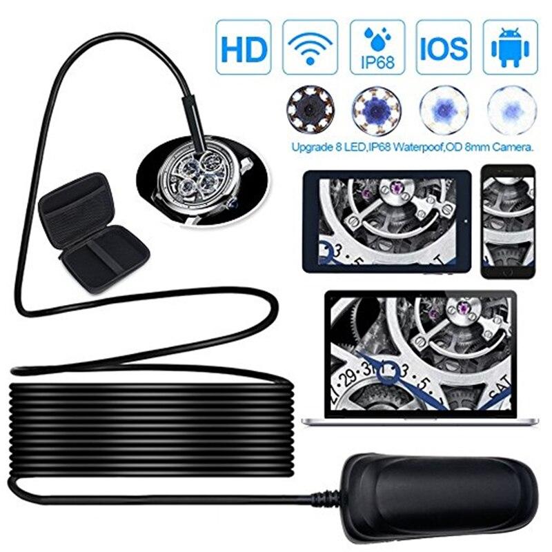 Wireless Endoscopio HD1080P 1000 mAh Wifi Periscopio Del USB, IP68 Impermeabile Macchina Fotografica di Controllo, Semi-rigido Flessibile Snake Camera