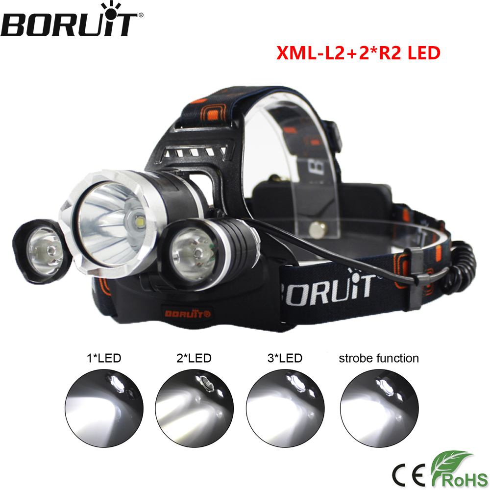 BORUiT RJ-3000 9000LM XM-L2 R2 Headlight 4-Mode Headlamp Camping Head Torch Hunting Flashlight by 18650 Battery Frontal Lantern boruit xm l2 led headlamp zoom flashlight 4 mode rechargeable headlight portable camping hunting head lamp torch 18650 battery