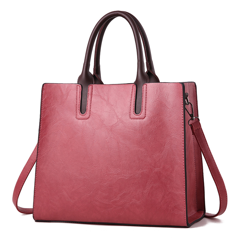 Women Solid Color Leather Handbags Korean Simple And Elegant Fashion Leather Handbags in Top Handle Bags from Luggage Bags