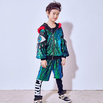 New Boys Street Dance Jazz Clothes Green Sequins Jacket Spring And Autumn Blouse Loose Jazz Dance Costumes цена 2017