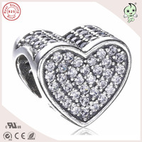 DIY High Quality New Collection CZ Paving 925 Sterling Silver Heart Charm