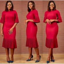 African Dress for Women Ruffled Half Flare Sleeves Solid Pleated Fishtail Dresses Plus Size Woman Africa Clothes Elegant Party