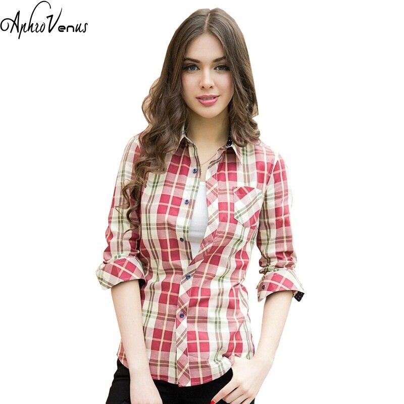 Plaid Shirts Female Long Sleeve Plaid Shirts 2017 New