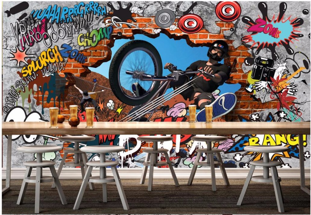 3d wallpaper custom photo Graffiti bike personality background wall room wallpaper for walls 3d wall muals wall paper custom 3d photo wallpaper 3d wall murals wallpaper cartoon animal graffiti wall children room background wall 3d wallpaper room