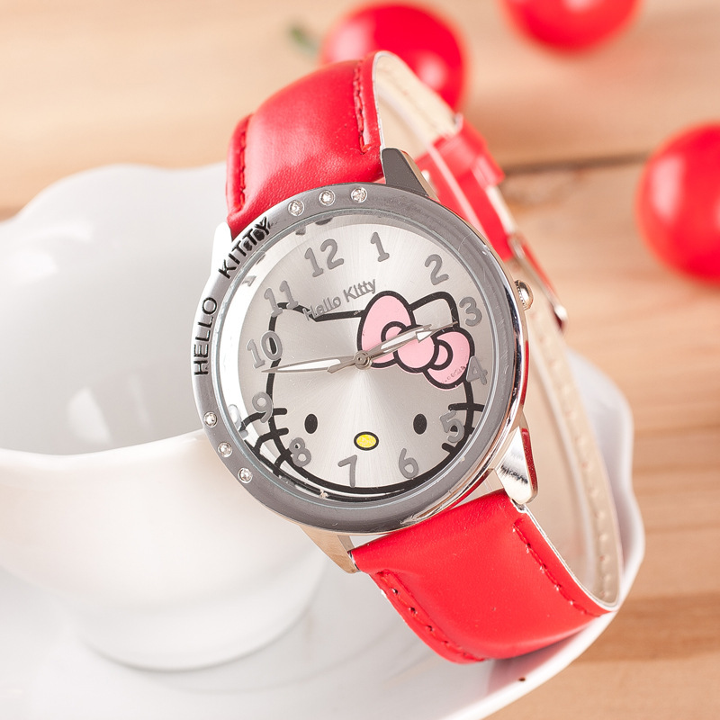 096e99e8a Cute Children's Watch Cartoon Hellokitty PU Leather Wristwatch hour clock  Quartz Wrist Watch for Girl Student hellokitty-in Children's Watches from  Watches ...