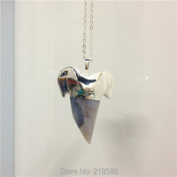 SN 031 Gray Agate Shark Teeth Charm Pendant Necklace With Silver Plated Chain