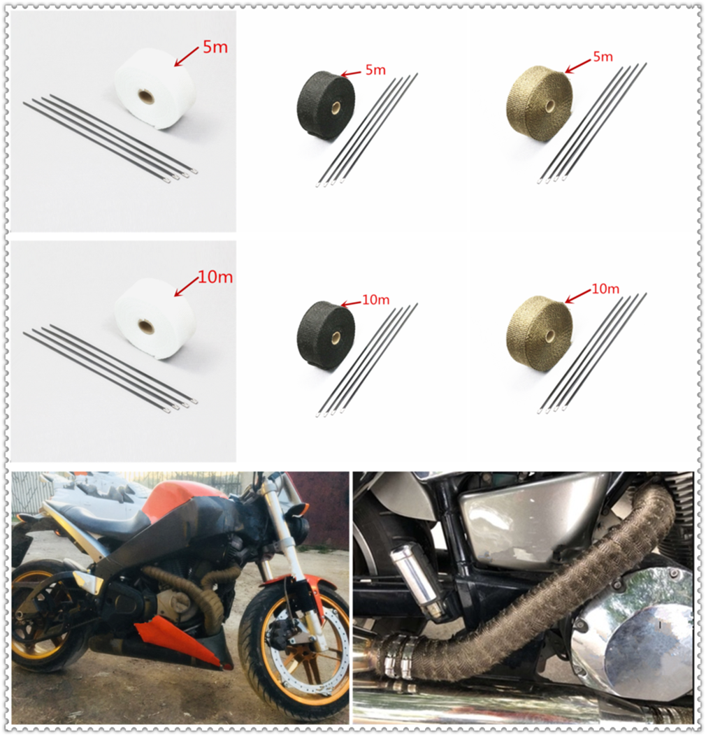 Motorcycle roll fire insulation cloth hot air exhaust heat protection cover belt for <font><b>YAMAHA</b></font> XV 950 RACER TDM 900 <font><b>MT</b></font>-<font><b>125</b></font> MT125 image