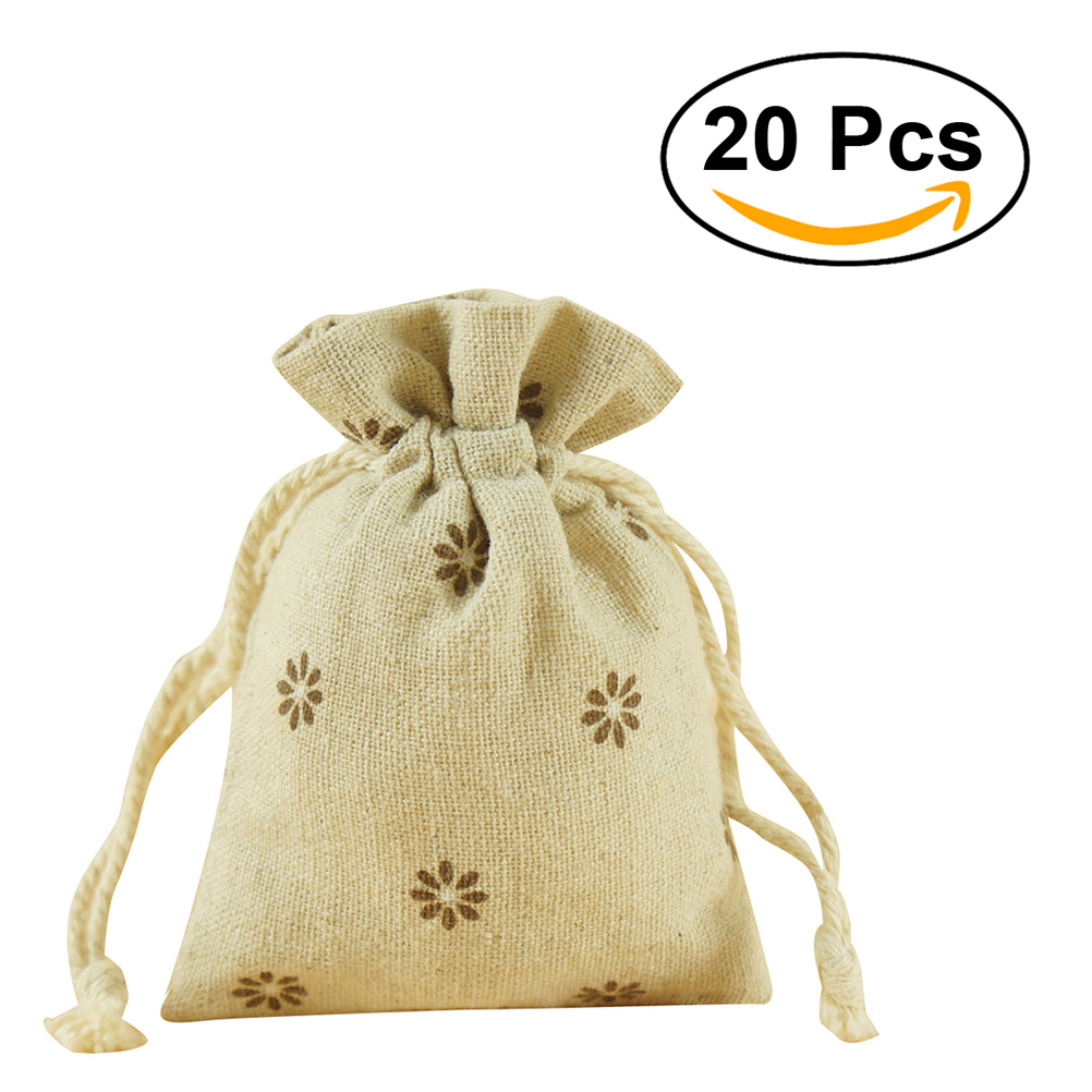 20pcs Cotton Linen Gift Drawstring Bags Birthday Party Wedding Favor ...