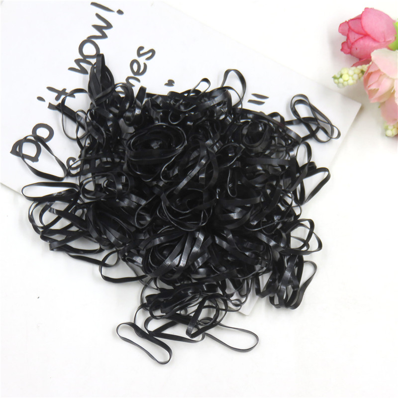 About 100PCS/LOT Fashion Black Elastic Hair Bands For Girl Handmade Hair Scrunchy Kids Creative Hair Accessories For Girl