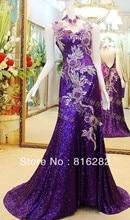 2015 A-Line Floor-Length Beads Sequined Handmade Flower Chapel Train High Collar Sleeveless Purple Tulle Evening Dresses
