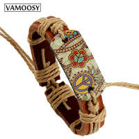 2018 Fashion Bracelets for Women Hippie Retro Leather Adjustable Bracelet HandMade Jewelry for Women Flower Print Rope Gifts