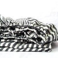 Navy White Stripe Linen Fitted Sheet 1piece linen Bed Sheet 100% pure flax