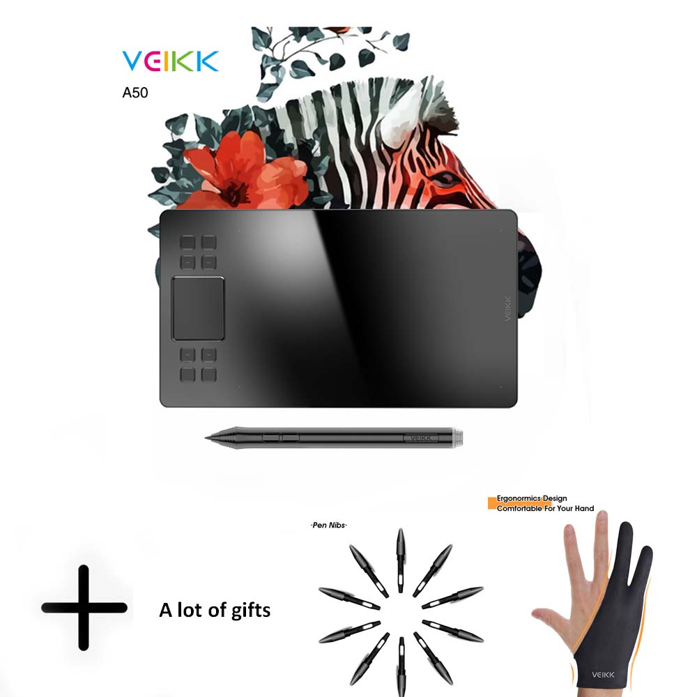 Tablette de dessin graphique VEIKK A50 avec 8192 de sensibilité à la pression (stylo passif sans batterie) périphériques d'ordinateur de tablette numérique