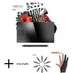 Veikk a50 gráficos desenho tablet com 8192 sensibilidade à pressão (caneta passiva sem bateria) digital tablet computador periféricos