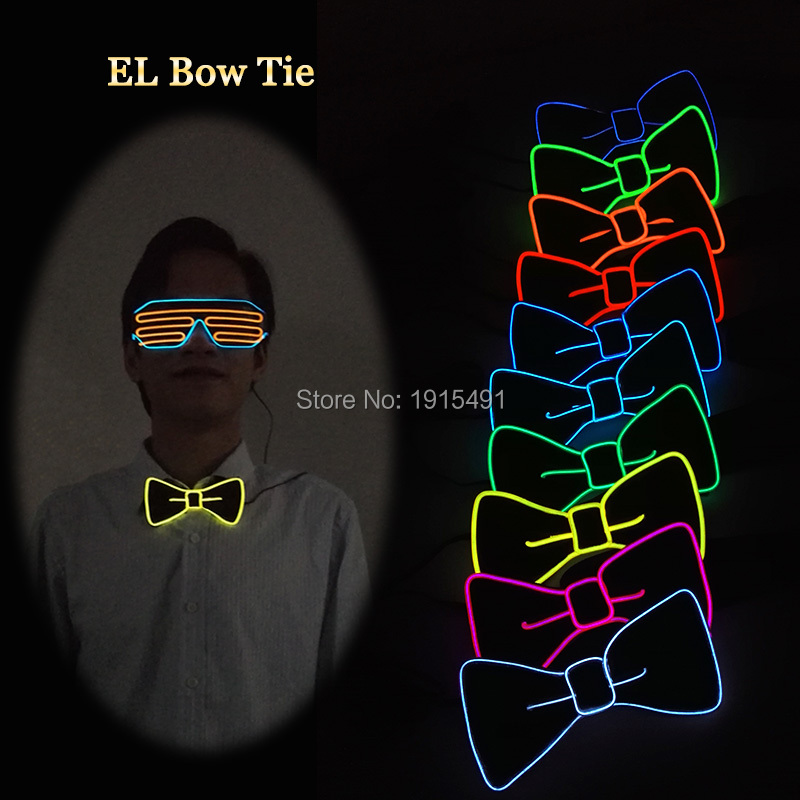 Promotion!Holiday Lighting DC3V Colorful Red EL Wire Light Butterfly Bowtie With Mini Inverter For Carnival,Event Party Supplies