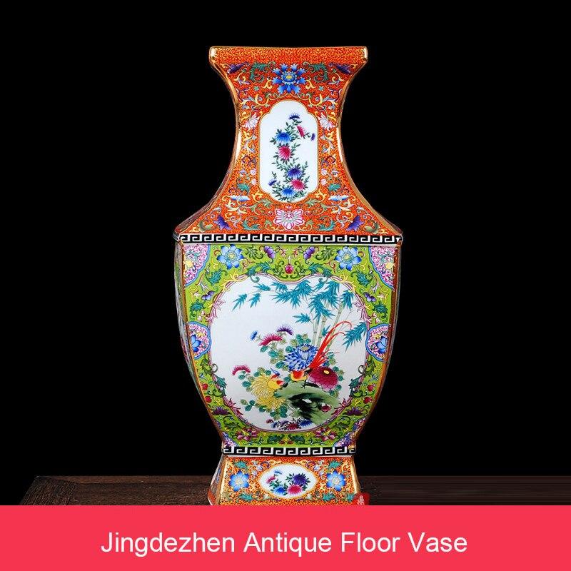 Wohnkultur RüCksichtsvoll Big Emaille Boden Vase Jingdezhen Keramik Antiken Platz Vase Nachahmung Qianlong Palace