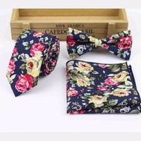 Flower-Rose-Paisley-Handkerchief-Butterfly-Bow-Tie-Ties-SET