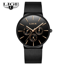 LIGE Fashion Simple Mens Watches Top Brand Luxury Business Waterproof Quartz Watch Male Clock Sports Relogio Masculino