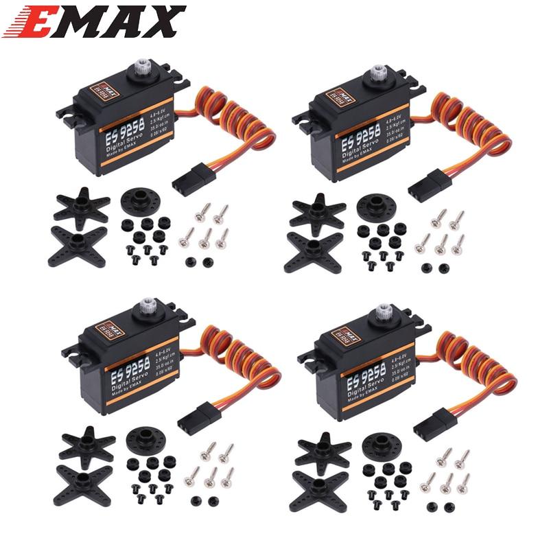 цена на 4pcs/lot EMAX ES9258 Metal Gear Digital Servo 27g/ 2.5 kg/ 0.05 sec for rc helicopter Wholesale Dropship