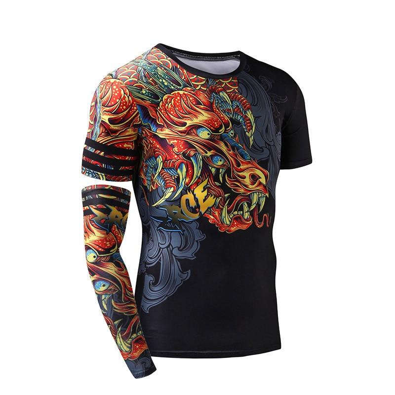 da24913d0ad ZRCE Men Compression Shirt 3D Dragon Gym Clothing Quick Dry Fitness Men  Swim Fitness Top Mens