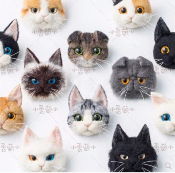 Wool Felt Poke, Cat's Brooch, Garfield Cat Folding Cat, Siam Cat Short Haired Cat Wool Needlepoint Kit  Wool Felt Needle Felting