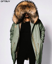 OFTBUY 2020 chaqueta de invierno de talla grande para hombre, de piel auténtica Parka, abrigo grande Natural de Cuello de piel de mapache, capucha gruesa y cálida, ropa de calle