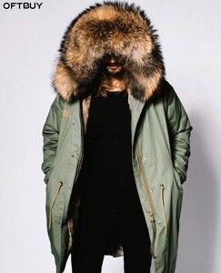 Image 1 - معطف شتوي للرجال مقاس كبير من OFTBUY موضة 2020 معطف بفرو حقيقي كبير وياقة من الفرو الراكون الطبيعي ملابس خارجية سميكة ودافئة ملابس خارجية