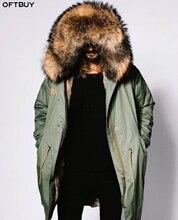 Oftbuy 2020 Plus Size Winter Jas Mannen Parka Echte Bontjas Grote Natuurlijke Wasbeer Bontkraag Kap Dikke Warme Bovenkleding streetwear
