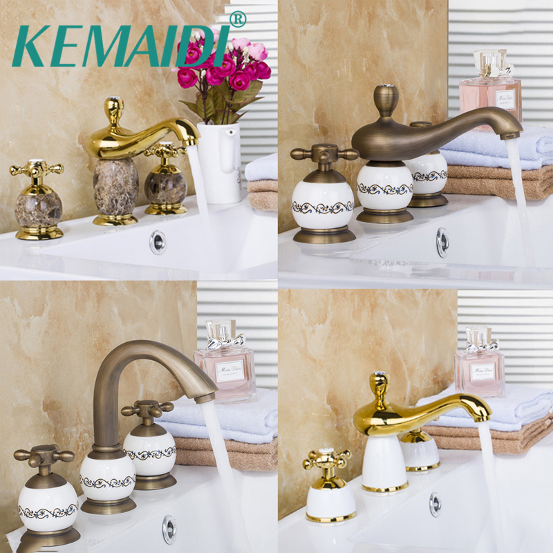 KEMAIDI 3 pcs Bathroom Mixer Bath Basin Sink Vanity Faucet Water Tap Bath Faucets Antique Brass&Gold Ceramic&Marble Deck Mounted kemaidi 3 pcs antique brass