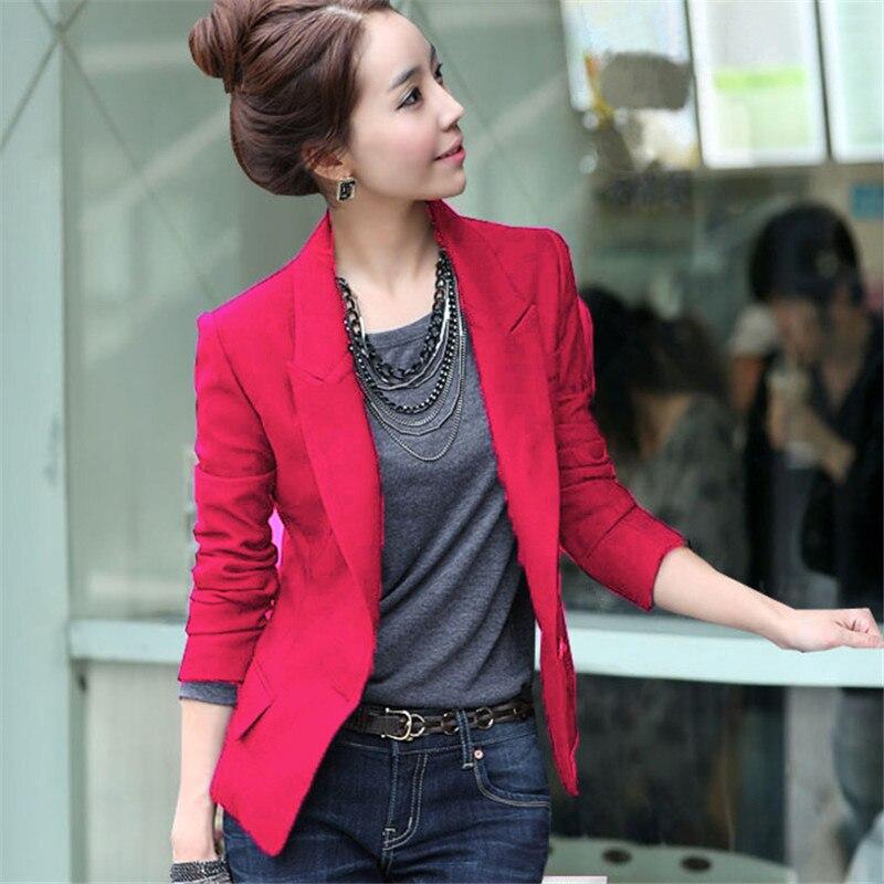 Women Jacket Fashion Spring Coat Slim Suit Outerwear Blazer Jacket One Button Coat 3 Colors Women Blazer Feminino Tops TT3376